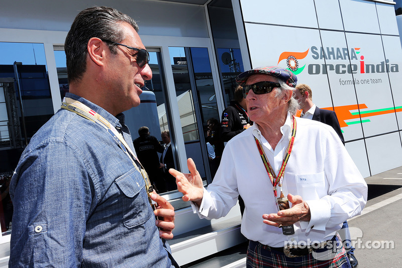 (L to R): Carlos Slim Domit, Businessman with Jackie Stewart (GBR)