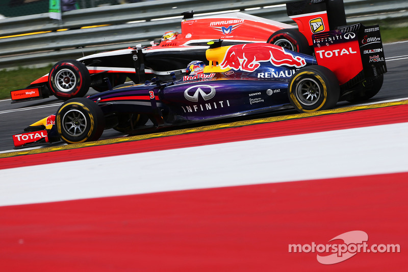 Daniel Ricciardo, Red Bull Racing RB10 and Jules Bianchi, Marussia F1 Team MR03