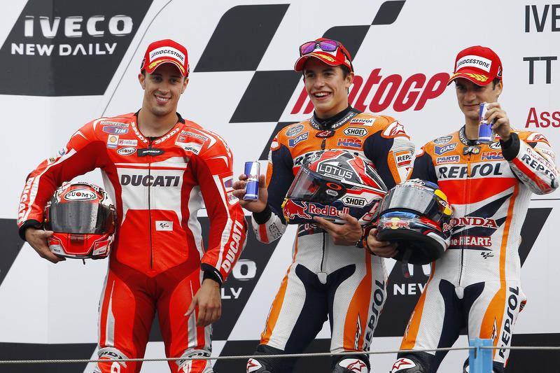 2014: 1. Marc Marquez, 2. Andrea Dovizioso, 3. Dani Pedrosa