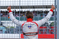 Max Chilton, Marussia F1 Team acknowledges the fans in the granstand