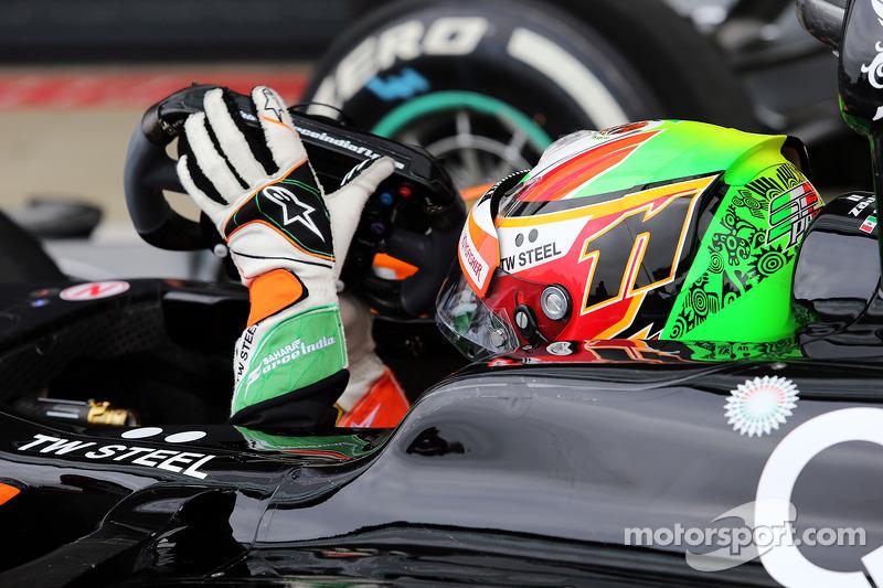 Sergio Perez, Sahara Force India F1 VJM07, nel parco chiuso