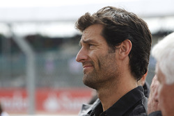 Mark Webber watches the podium