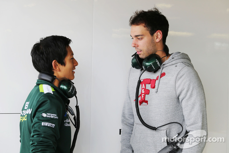 (L to R): Rio Haryanto, Caterham F1 Team Test Driver with Nathanael Berthon, Caterham F1 Team Development Driver