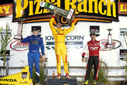Race winner Ryan Hunter-Reay, second place Josef Newgarden, third place Tony Kanaan