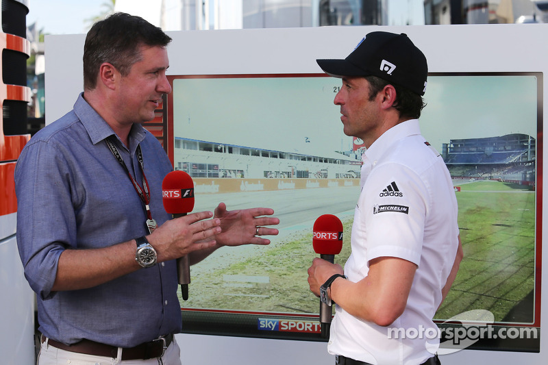 (L to R): David Croft, Sky Sports Commentator with Patrick Dempsey who is competing in the Porsche S