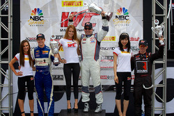 GTS Winners Podium: Lawson Aschenbach (left, second), Dean Martin (center, first), Jack Roush Jr (right, third)