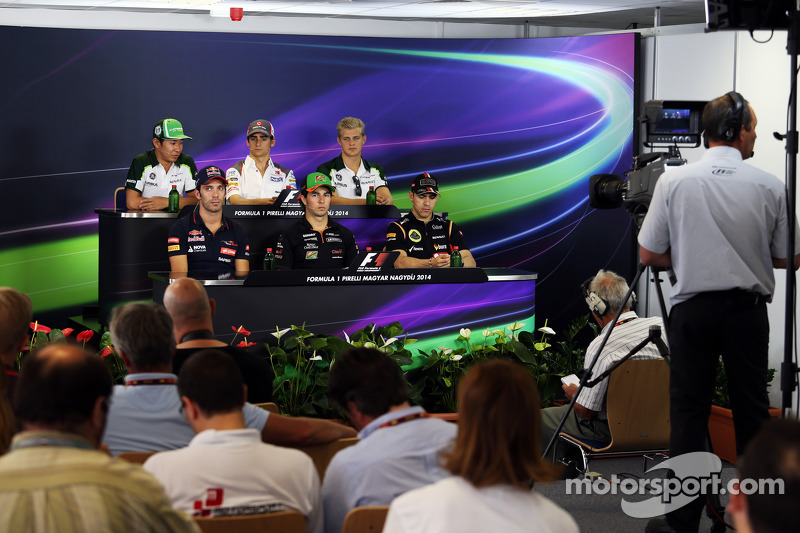 Conferenza stampa FIA: Kamui Kobayashi, Caterham; Esteban Gutierrez, Sauber; Marcus Ericsson, Caterham; Jean-Eric Vergne, Scuderia Toro Rosso; Sergio Perez, Sahara Force India F1; Pastor Maldonado, Lotus F1 Team