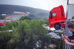 A truck hangs off the Spa paddock