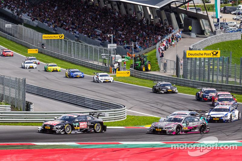 Timo Scheider, Audi Sport Team Phoenix Audi RS 5 DTM e Joey Hand, BMW Team RBM BMW M4 DTM