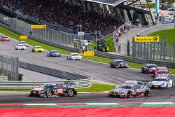 Timo Scheider, Audi Sport Team Phoenix Audi RS 5 DTM and Joey Hand, BMW Team RBM BMW M4 DTM