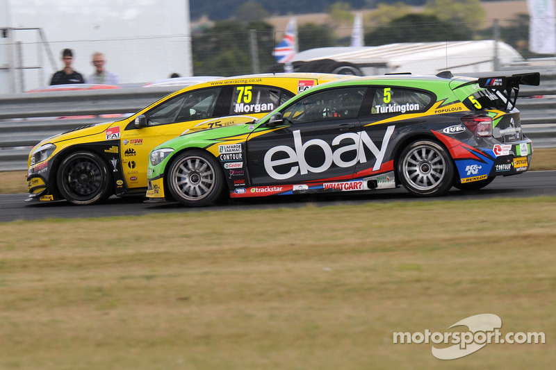 Colin Turkington, eBay Motors passing Adam Morgan, Wix Racing