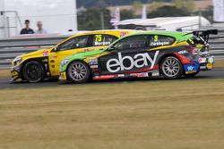 Colin Turkington, eBay Motors passing Adam Morgan, Wix Racing