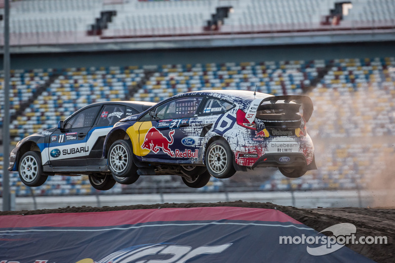 #11 Subaru Rally Team USA Subaru WRX STi: Sverre Isachsen, #31 Olsbergs MSE Ford Fiesta ST: Joni Wiman