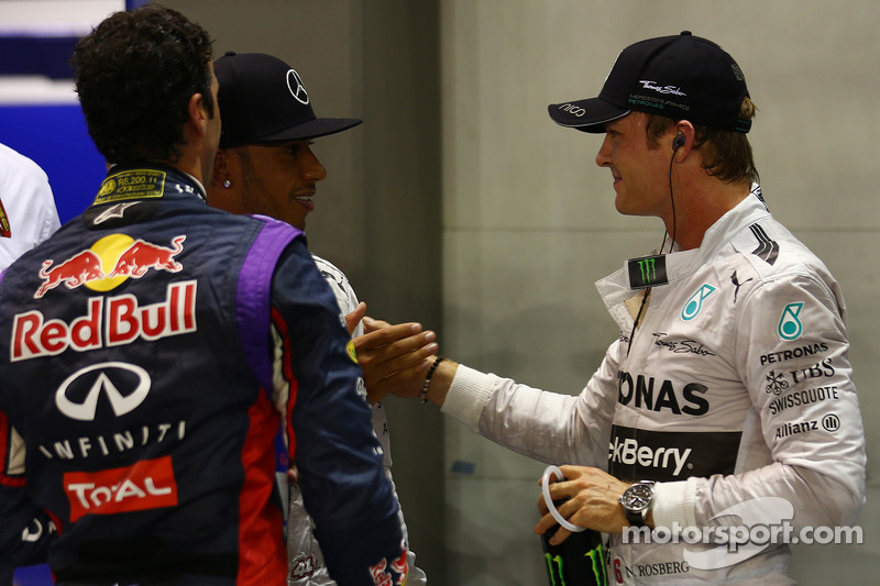 Daniel Ricciardo, Lewis Hamilton and Nico Rosberg