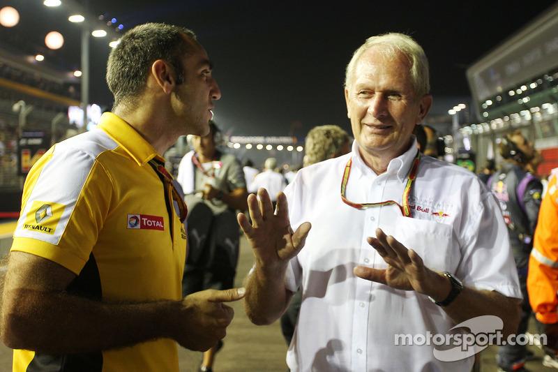 Cyril Abiteboul, Renault Sport F1 Genel Müdürü ve Dr Helmut Marko, Red Bull Motorsporları Danışmanı gridde