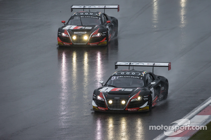 #1 Belgian Audi Club Team WRT Audi R8 LMS Ultra: Cesar Ramos, Laurens Vanthoor, Christopher Mies, #3 Belgian Audi Club Team WRT Audi R8 LMS Ultra: James Nash, Frank Stippler, Marc Basseng