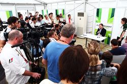 Dr. Manfredi Ravetto, Caterham F1 Team Principal with the media