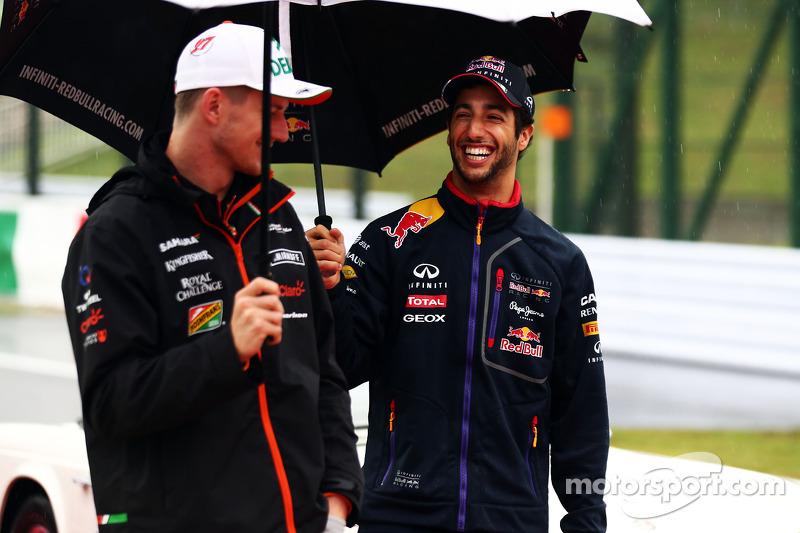 (L to R): Nico Hulkenberg, Sahara Force India F1 and Daniel Ricciardo, Red Bull Racing on the driver