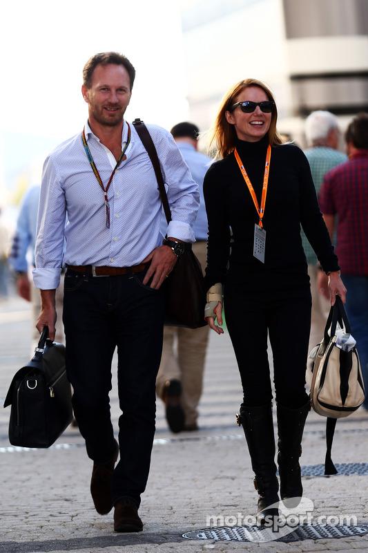 (Esquerda para direita): Christian Horner, chefe de equipe da Red Bull com a cantora Geri Halliwell