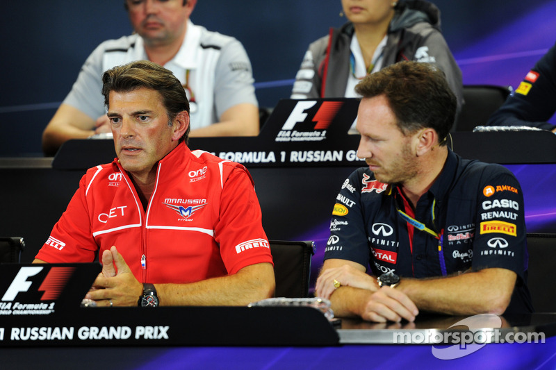 (L to R): Graeme Lowdon, Marussia F1 Team Chief Executive Officer and Christian Horner, Red Bull Racing Team Principal in the FIA Press Conference
