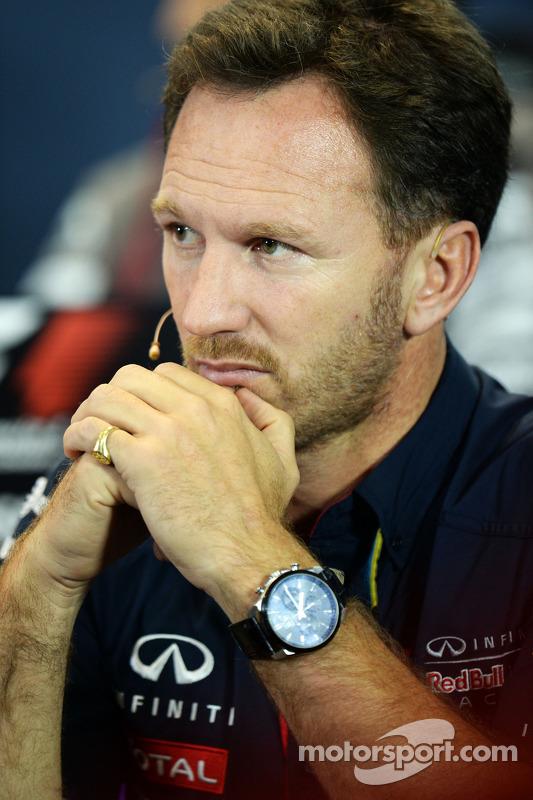 Christian Horner, chefe de equipe da Red Bull na coletiva de imprensa