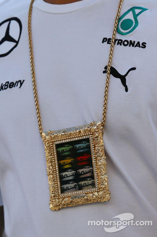 A necklace worn by Lewis Hamilton, Mercedes AMG F1