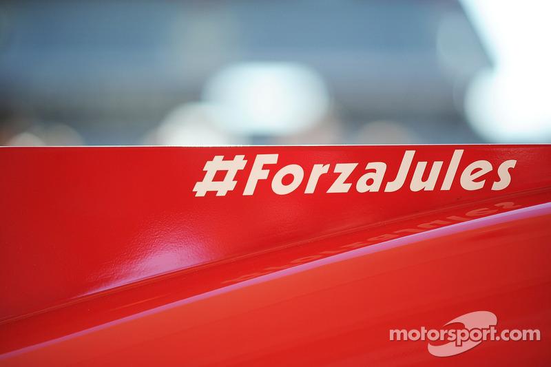Ferrari F14-T motor kapağında Jules Bianchi'ye destek mesajı