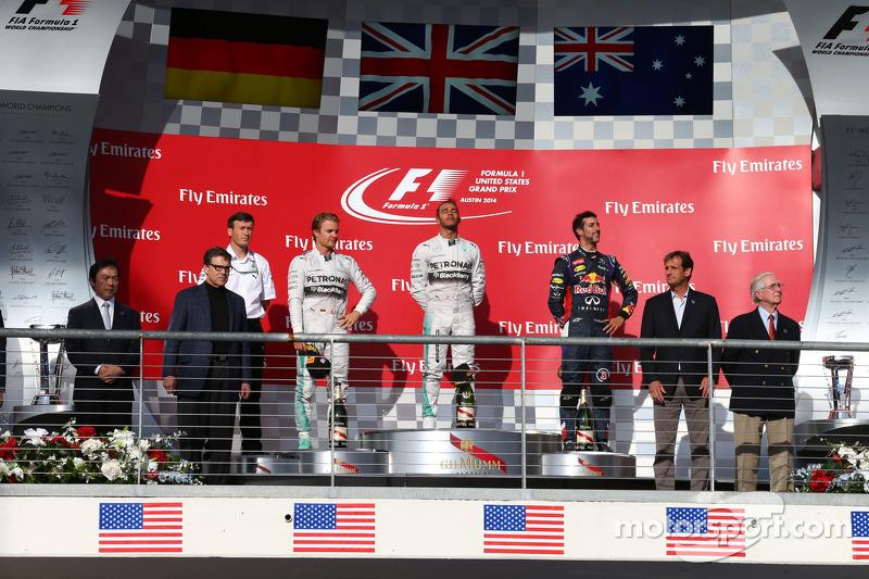 1st place for Lewis Hamilton, Mercedes AMG F1 W05, 2nd place for Nico Rosberg, Mercedes AMG F1 W05 and 3rd for Daniel Ricciardo, Red Bull Racing RB10