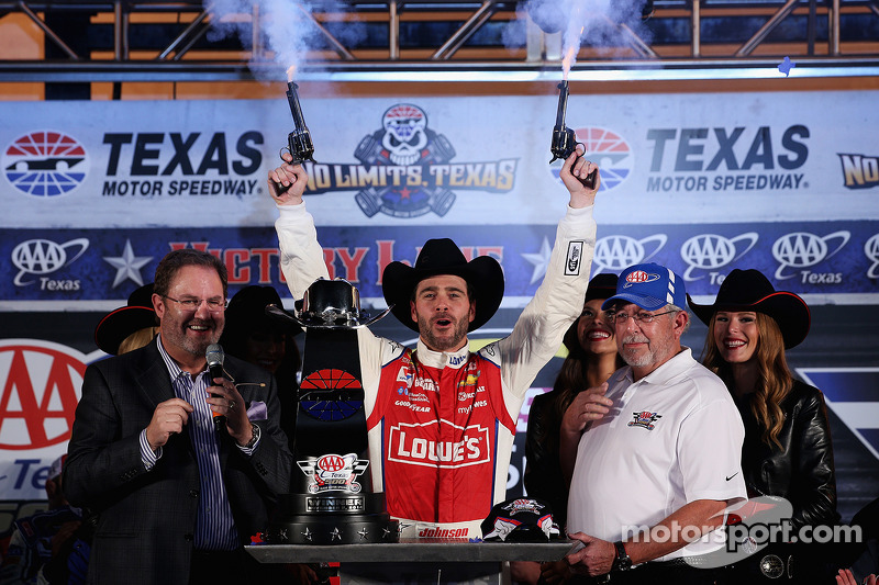 Jimmie Johnson celebrates