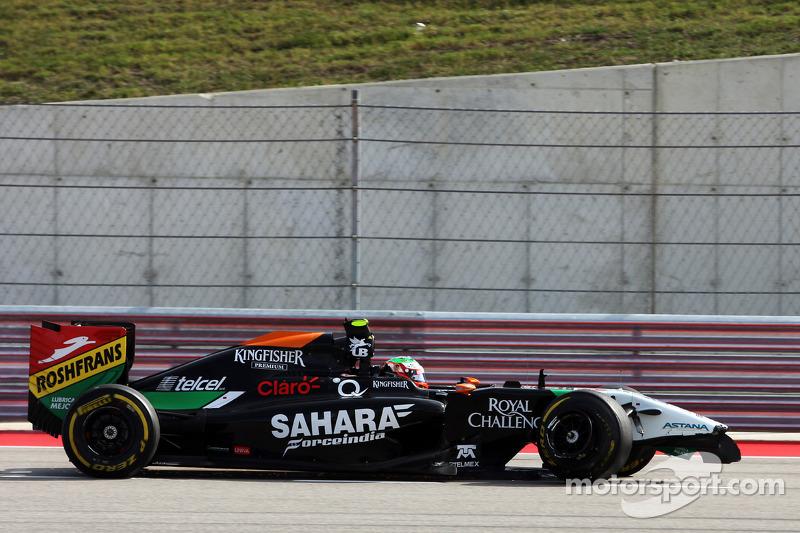 Sergio Pérez, Sahara Force India F1 VJM07 reVueltas to de pits after damageng his auto on de openeng lap de de race