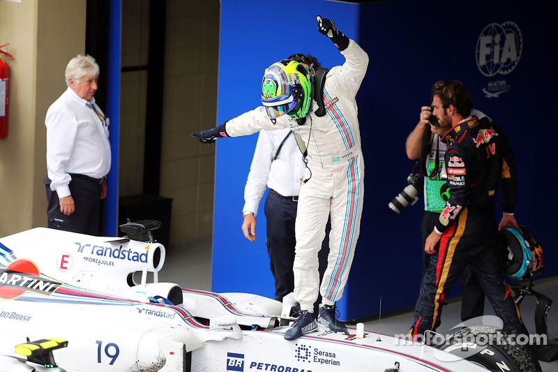 Felipe Massa, Williams FW36 celebrates his third position in parc ferme