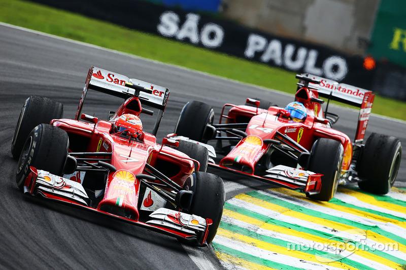 Kimi Raikkonen, Ferrari F14-T leads Fernando Alonso, Ferrari F14-T ...