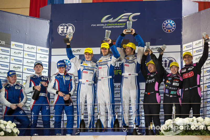 LMP2 podium: 1st place Matthew Howson, Richard Bradley, Alexandre Imperatori; 2nd place Kirill Ladygin, Viktor Shaitar, Anton Ladygin; 3rd place Mark Patterson, Keiko Ihara, David Cheng