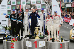 Podium: winners Sébastien Ogier and Julien Ingrassia, second place Mikko Hirvonen and Jarmo Lehtinen, third place Mads Ostberg and Jonas Andersson