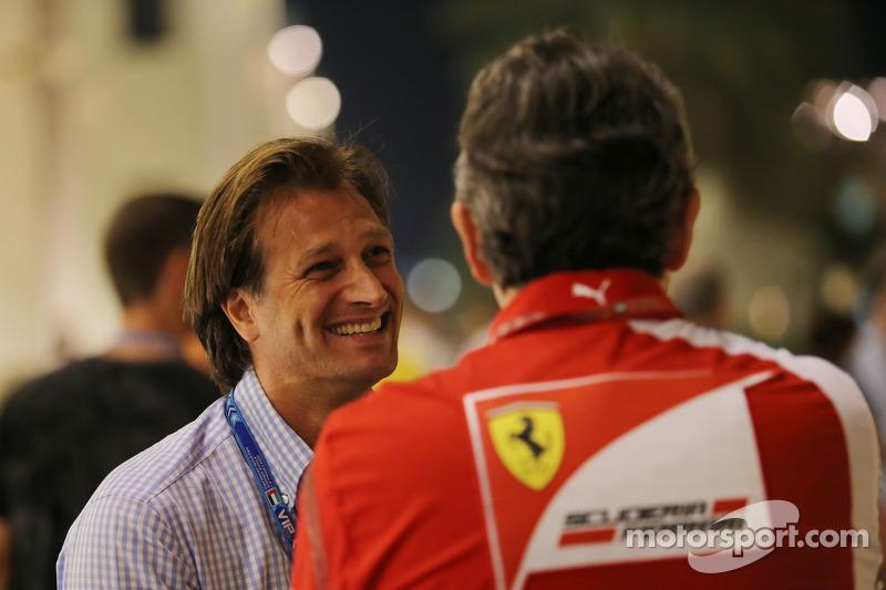 (L to R): Dany Bahar, with Marco Mattiacci, Ferrari Team Principal