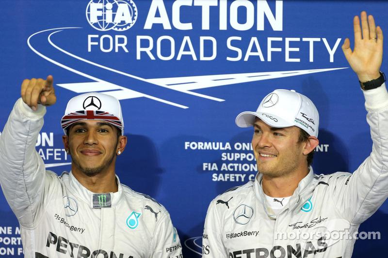 Pole position Nico Rosberg, Mercedes AMG F1 Team, segundo lugar Lewis Hamilton, Mercedes AMG F1 Team
