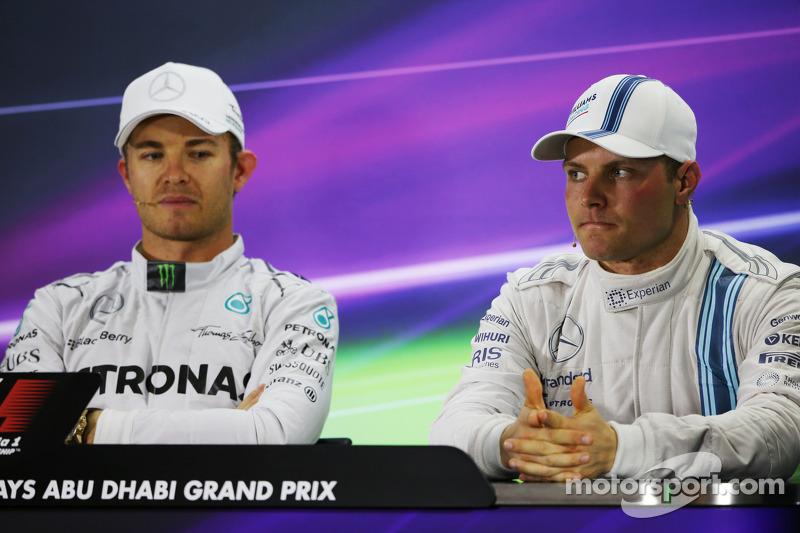 (L to R): Nico Rosberg, Mercedes AMG F1 with Valtteri Bottas, Williams in the FIA Press Conference