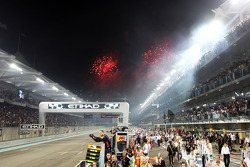 Fireworks over the circuit as the race ends