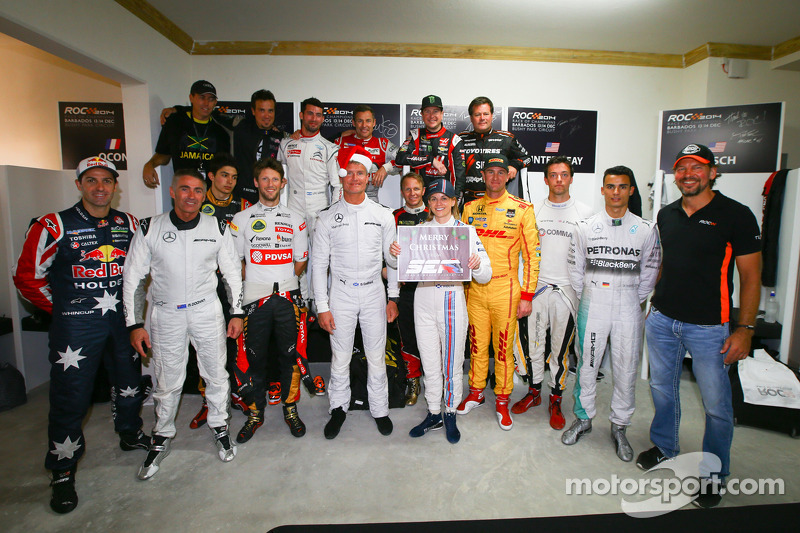 Drivers group photo in the locker room