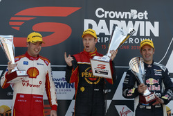 Podium: Race winner David Reynolds, Erebus Motorsport Holden, second place Scott McLaughlin, DJR Team Penske Ford, third place Jamie Whincup, Triple Eight Race Engineering Holden