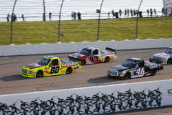Matt Crafton, ThorSport Racing, Ford F-150 Jack Links/Menards, Myatt Snider, ThorSport Racing, Ford F-150, and Christian Eckes, Kyle Busch Motorsports, Toyota Tundra Mobil 1