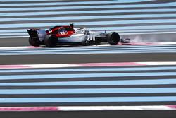 Charles Leclerc, Sauber C37, en tête-à-queue