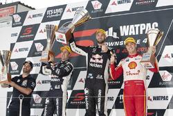 Podium: race winner Shane van Gisbergen, Triple Eight Race Engineering, second place Jamie Whincup, Triple Eight Race Engineering Holden, third place Scott McLaughlin, DJR Team Penske Ford