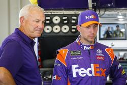 Denny Hamlin, Joe Gibbs Racing, Toyota Camry FedEx Office with Dale Jarrett