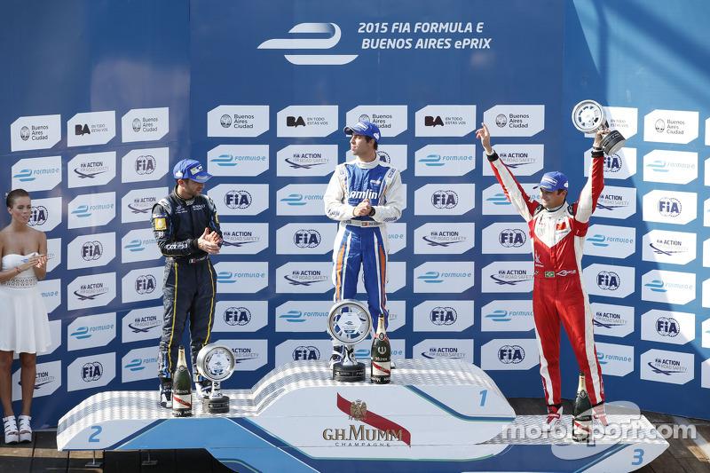 Podium: race winner Antonio Felix da Costa, second place Nicolas Prost, third place Nelson Piquet Jr.