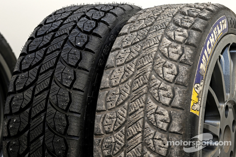Michelin studded tire, before та after