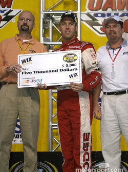Drivers presentation: Jeremy Mayfield receives a check