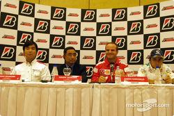 Bridgestone press conference: Hisao Suganuma, Hiroshi Yasukawa, Rubens Barrichello and Felipe Massa
