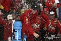 Victory lane: race winner Dale Earnhardt Jr. celebrates