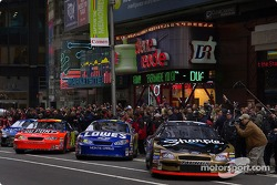 Kurt Busch starts the parade of the top ten NASCAR finishers through the streets of New York City